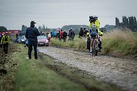 """Lizzie"" Elizabeth Deignan (GBR/Trek Segafredo) solo's to an incredible Roubaix win. <br /> <br /> Inaugral Paris-Roubaix Femmes 2021 (1.WWT)<br /> One day race from Denain to Roubaix (FRA) (116.4km)<br /> <br /> ©kramon"