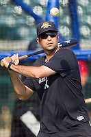 Charleston RiverDogs pitching coach Carlos Chantres (33) hits ground balls during batting practice prior to the game against the Greenville Drive at Joseph P. Riley, Jr. Park on May 26, 2014 in Charleston, South Carolina.  The Drive defeated the RiverDogs 11-3.  (Brian Westerholt/Four Seam Images)