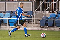 SAN JOSE, CA - MAY 01: Luciano Abecasis #2 of the San Jose Earthquakes looks up to pass the ball during a game between San Jose Earthquakes and D.C. United at PayPal Park on May 01, 2021 in San Jose, California.