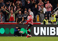25th September 2021; Brentford Community Stadium, London, England; Premier League Football Brentford versus Liverpool; Yoane Wissa of Brentford celebrates after scoring his sides 3rd goal in the 82nd minute to make it 3-3