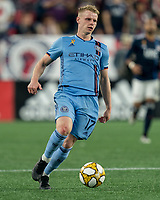 FOXBOROUGH, MA - SEPTEMBER 29: Gary Mackay-Steven #17 of New York City FC dribbles during a game between New York City FC and New England Revolution at Gillette Stadium on September 29, 2019 in Foxborough, Massachusetts.