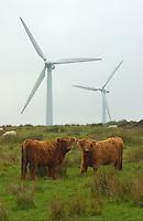 Wind farm, near Huddersfield, Yorkshire. Turbines.