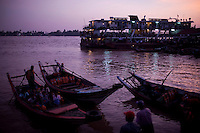 A passenger ferry departs from the docks in Rangoon (Yangon).
