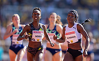4th July 2021; Stockholm Olympic Stadium, Stockholm, Sweden; Diamond League Grand Prix Athletics, Bauhaus Gala; Almanza and Goule battle it out at the finish line of the 800m