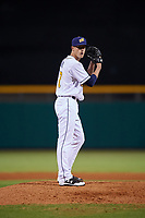 Montgomery Biscuits relief pitcher Kyle Bird (17) gets ready to deliver a pitch during a game against the Mississippi Braves on April 24, 2017 at Montgomery Riverwalk Stadium in Montgomery, Alabama.  Montgomery defeated Mississippi 3-2.  (Mike Janes/Four Seam Images)