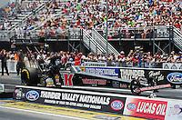 Jun. 16, 2012; Bristol, TN, USA: NHRA top fuel dragster driver Doug Kalitta during qualifying for the Thunder Valley Nationals at Bristol Dragway. Mandatory Credit: Mark J. Rebilas-