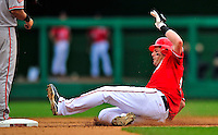 24 May 2009: Washington Nationals' right fielder Austin Kearns slides safely into second with a double against the Baltimore Orioles at Nationals Park in Washington, DC. The Nationals rallied to defeat the Orioles 8-5 and salvage one win of their interleague series. Mandatory Credit: Ed Wolfstein Photo