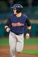 Scranton/Wilkes-Barre RailRiders right fielder Billy McKinney (10) running the bases during the first game of a doubleheader against the Rochester Red Wings on August 23, 2017 at Frontier Field in Rochester, New York.  Rochester defeated Scranton 5-4 in a game that was originally started on August 22nd but was was postponed due to inclement weather.  (Mike Janes/Four Seam Images)