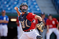 Anthony Migliaccio (10) of Detroit Country Day Upper High School in Wyandotte, MI during the Perfect Game National Showcase at Hoover Metropolitan Stadium on June 19, 2020 in Hoover, Alabama. (Mike Janes/Four Seam Images)