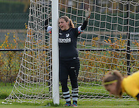 20151024 - ZWEVEZELE , BELGIUM : Lauren Delmez pictured during a soccer match between the women teams of SKV Zwevezele Ladies and KSOC Maria Ter Heide  , during the eight matchday in the Third League - Derde Nationale season, Saturday 24 October 2015 . PHOTO DAVID CATRY