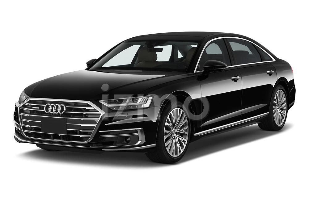 2019 Audi A8-L Avus-Extended 4 Door Sedan Angular Front stock photos of front three quarter view