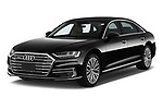 2019 Audi A8-L Avus-Extended 4 Door Sedan Angular Front stock photos of front three quarter view