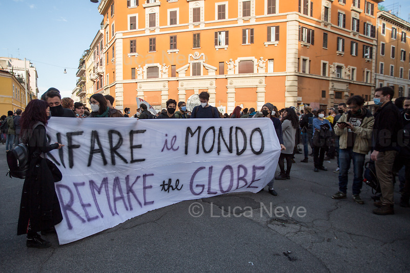 Rome, Italy. 17th Apr, 2021. Today, activists, citizens of San Lorenzo, representatives of movements, actors, musicians, students, workers, artists held a march and a rally (1.) to mark and celebrate the 10th anniversary of the occupation of Nuovo Cinema Palazzo in Rome's San Lorenzo district. <br />
