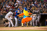 AFL East outfielder Monte Harrison (4), hitting coach Brian Buchanan, and pitcher Jon Duplantier (31) attack the San Diego Chicken between innings of the Fall Stars game at Surprise Stadium on November 3, 2018 in Surprise, Arizona. The AFL West defeated the AFL East 7-6 . (Zachary Lucy/Four Seam Images)