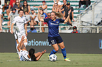 CARY, NC - SEPTEMBER 12: Amy Rodriguez #12 of the North Carolina Courage objects after being called for a foul on Rocky Rodriguez #11 of the Portland Thorns FC during a game between Portland Thorns FC and North Carolina Courage at Sahlen's Stadium at WakeMed Soccer Park on September 12, 2021 in Cary, North Carolina.
