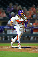 Reed Rohlman (26) of the Clemson Tigers starts down the first base line against the against the Duke Blue Devils in Game Three of the 2017 ACC Baseball Championship at Louisville Slugger Field on May 23, 2017 in Louisville, Kentucky. The Blue Devils defeated the Tigers 6-3. (Brian Westerholt/Four Seam Images)