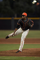 AZL Giants Black relief pitcher Aneudy Acosta (29) follows through on his delivery during an Arizona League game against the AZL Athletics at the San Francisco Giants Training Complex on June 19, 2018 in Scottsdale, Arizona. AZL Athletics defeated AZL Giants Black 8-3. (Zachary Lucy/Four Seam Images)