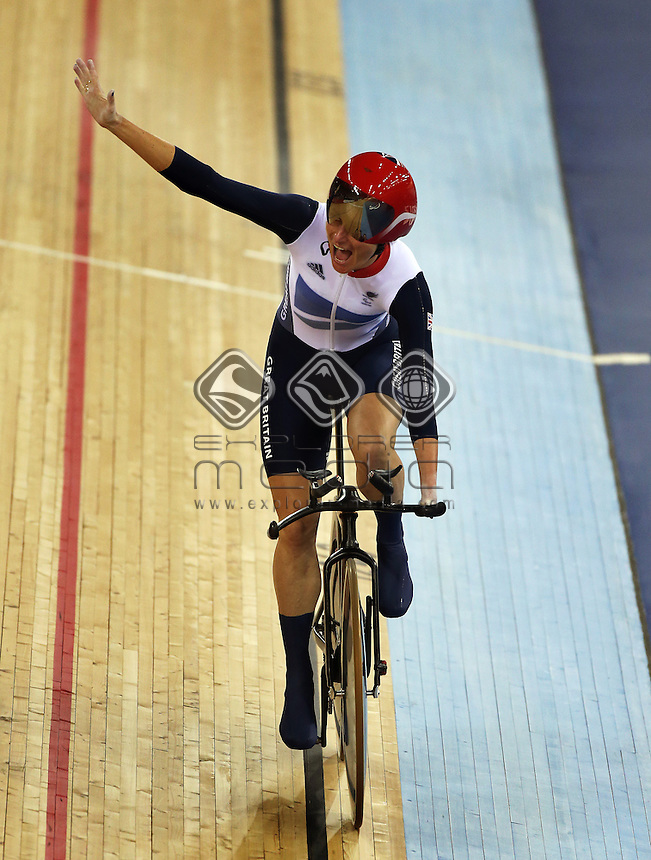 Sarah Storey (GB) after winning the Women's Individual C5 Pursuit.<br /> Track Cycling, Velodrome, Olympic Park (Thursday 29th Aug)<br /> Paralympics - Summer / London 2012<br /> London England 29 Aug - 9 Sept <br /> © Sport the library/Joseph Johnson