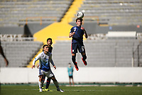 GUADALAJARA, MEXICO - MARCH 18: Samuel Vines #13 goes up for a header during a game between Costa Rica and USMNT U-23 at Estadio Jalisco on March 18, 2021 in Guadalajara, Mexico.