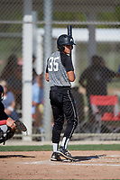 Dillon Cerone (35) during the WWBA World Championship at JetBlue Park on October 10, 2020 in Fort Myers, Florida.  Dillon Cerone, a resident of Weston, Florida who attends Nova High School, is committed to Western Carolina.  (Mike Janes/Four Seam Images)