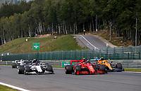 30th August 2020, Spa Francorhamps, Belgium, F1 Grand Prix of Belgium , Race Day;  10 Pierre Gasly FRA, Scuderia AlphaTauri Honda, 16 Charles Leclerc MCO, Scuderia Ferrari Mission Winnow, 4 Lando Norris GBR, McLaren F1 Team