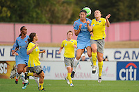 Yael Averbuch (13) of Sky Blue FC and Jen Buczkowski (4) of the Philadelphia Independence go up for a header. Sky Blue FC defeated the Philadelphia Independence 1-0 during a Women's Professional Soccer (WPS) match at Yurcak Field in Piscataway, NJ, on August 22, 2010.