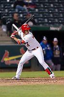 Springfield Cardinals pinch hitter Evan Mendoza (4) during a Texas League game against the Amarillo Sod Poodles on April 25, 2019 at Hammons Field in Springfield, Missouri. Springfield defeated Amarillo 8-0. (Zachary Lucy/Four Seam Images)