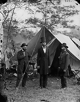 Antietam, Md.-1862 October 3.<br />  Allan Pinkerton, President Lincoln, and Maj. Gen. John A. McClernand].<br /> <br /> Gardner, Alexander, 1821-1882, photographer.<br /> <br /> <br /> Photograph from the main eastern theater of the war, Battle of Antietam, September-October 1862.