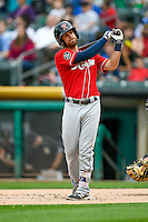 Tyler Smith (7) of the Tacoma Rainiers at bat against the Salt Lake Bees in Pacific Coast League action at Smith's Ballpark on June 14, 2016 in Salt Lake City, Utah. The Bees defeated the Rainiers 9-4.  (Stephen Smith/Four Seam Images)