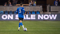 SAN JOSE, CA - MAY 01: Paul Marie #3 of the San Jose Earthquakes looks up to pass the ball during a game between San Jose Earthquakes and D.C. United at PayPal Park on May 01, 2021 in San Jose, California.