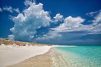 White chaulk cliffs and ocean. Admirals Point. Turks and Caicos