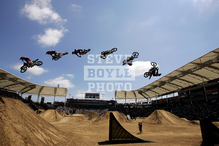 Jim McNeil competes during the Moto X Freestyle finals during X-Games 12 in Los Angeles, California on August 6, 2006.