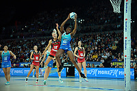 Mystics goalshoot Grace Nweke beats Jane Watson (left) to the ball during the ANZ Premiership netball final between Northern Mystics and Mainland Tactix at Spark Arena in Auckland, New Zealand on Sunday, 8 August 2021. Photo: Dave Lintott / lintottphoto.co.nz