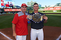 Nolan Gorman (9) of Sandra Day O'Connor High School in Glendale, Arizona poses for a photo with Billy Ripken after winning the home run derby before the Under Armour All-American Game presented by Baseball Factory on July 29, 2017 at Wrigley Field in Chicago, Illinois.  (Mike Janes/Four Seam Images)
