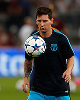 Calcio, Champions League, Gruppo E: Roma vs Barcellona. Roma, stadio Olimpico, 16 settembre 2015.<br /> FC Barcelona's Lionel Messi warms up before to the start of a Champions League, Group E football match between Roma and FC Barcelona, at Rome's Olympic stadium, 16 September 2015.<br /> UPDATE IMAGES PRESS/Riccardo De Luca<br /> <br /> *** ITALY AND GERMANY OUT ***