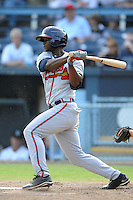 Rome Braves right fielder Felix Marte #28 swings at a pitch during game one of a double header against the Asheville Tourists at McCormick Field on June 4, 2013 in Asheville, North Carolina. The Braves won the game 5-3. (Tony Farlow/Four Seam Images)