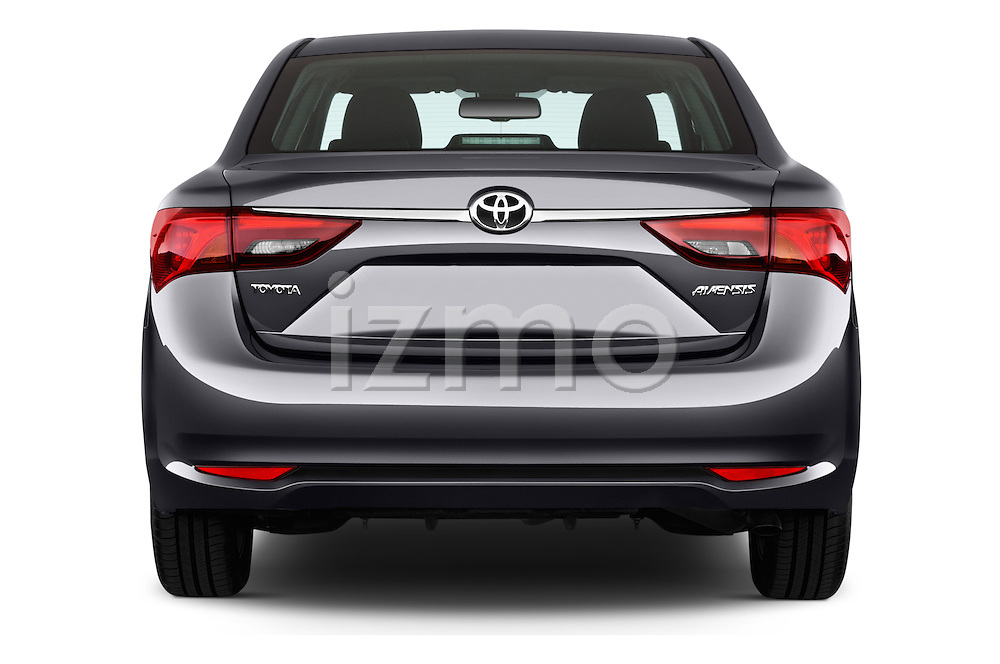Straight rear view of 2015 Toyota Avensis Active 4 Door Sedan Rear View  stock images
