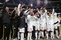 The LA Galaxy celebrate their title as 2005 MLS Western Conference champions. The Colorado Rapids lost to the LA Galaxy 2-0 in the Western Conference Finals, November 5, 2005, at Ivesco Field at Mile High in Denver, CO.