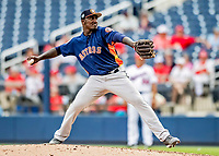 27 February 2019: Houston Astros pitcher Akeem Bostick on the mound in pre-season action against the Washington Nationals at the Ballpark of the Palm Beaches in West Palm Beach, Florida. The Nationals defeated the Astros 14-8 in their Spring Training Grapefruit League matchup. Mandatory Credit: Ed Wolfstein Photo *** RAW (NEF) Image File Available ***