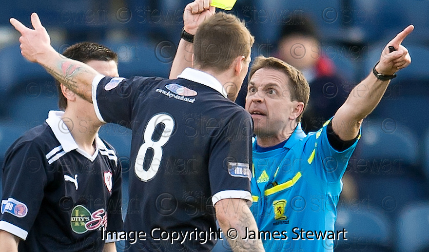 IAIN DAVIDSON IS BOOKED BY REFEREE CRAWFORD ALLAN AFTER PROTESTING ABOUT PAT CLARKES SHOT BEING BLOCKED