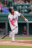Third baseman Brandon Howlett (35) of the Greenville Drive in a game against the Asheville Tourists on Tuesday, June 1, 2021, at Fluor Field at the West End in Greenville, South Carolina. (Tom Priddy/Four Seam Images)