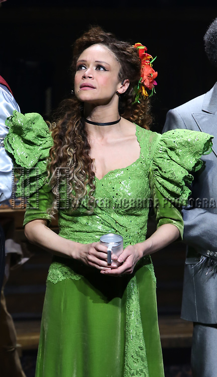 Amber Gray during Broadway Opening Night Performance Curtain Call for 'Hadestown' at the Walter Kerr Theatre on April 17, 2019 in New York City.