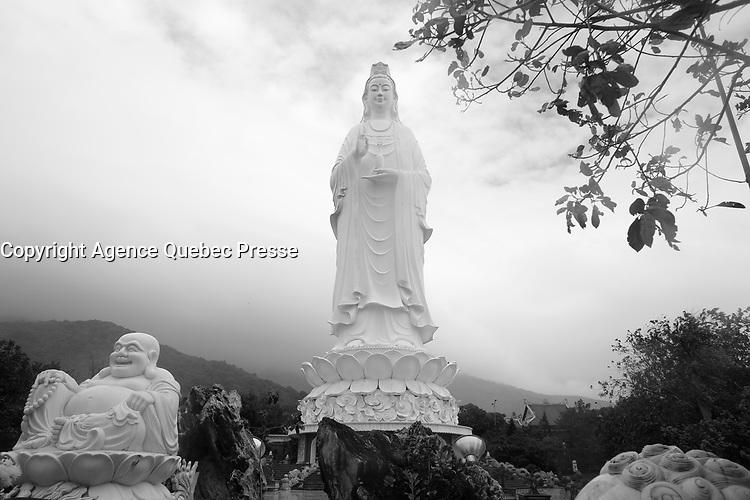 Lady buddha on a  stormy day in Da Nang, Vietnam