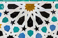Fes, Morocco.  Attarine Medersa, 14th. Century.  Geometric Mosaic (Zellij).
