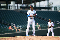 Mesa Solar Sox relief pitcher Manuel Rondon (51), of the Chicago Cubs organization, gets ready to deliver a pitch during an Arizona Fall League game against the Peoria Javelinas at Sloan Park on October 11, 2018 in Mesa, Arizona. Mesa defeated Peoria 10-9. (Zachary Lucy/Four Seam Images)