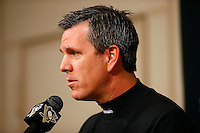Head coach Mike Sullivan speaks during a press conference following practice at Consol Energy Center in Pittsburgh, Pennsylvania on December 14, 2015. (Photo by Jared Wickerham / DKPS)