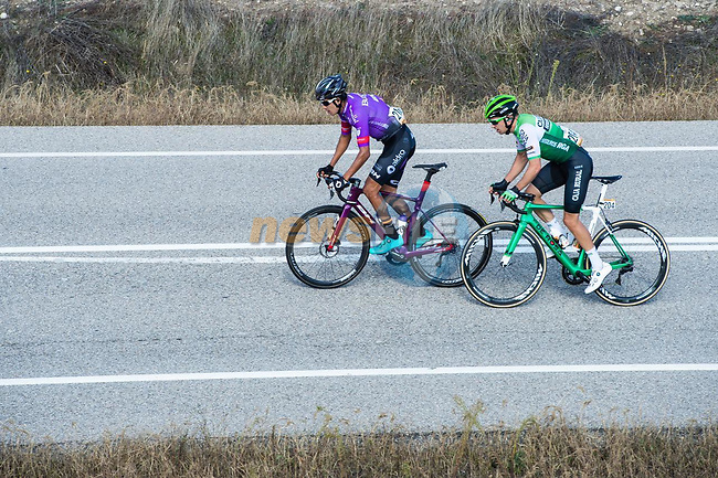 The 2 man breakaway of Juan Felipe Osorio (ESP) Burgos-BH and Aritz Bagues (ESP) Caja Rural-Seguros RGA during Stage 9 of the Vuelta Espana 2020 running 157.7km from B.M. Cid Campeador. Castrillo del Val to Aguilar de Campo, Spain. 29th October 2020.   <br /> Picture: Unipublic/Charly Lopez | Cyclefile<br /> <br /> All photos usage must carry mandatory copyright credit (© Cyclefile | Unipublic/Charly Lopez)