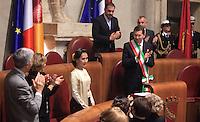 L'attivista birmana e vincitrice del Premio Nobel per la Pace del 1991 Aung San Suu Kyi, terza da sinistra, riceve la cittadinanza onoraria di Roma durante una cerimonia col sindaco Ignazio Marino in Campidoglio, Roma, 27 ottobre 2013.<br /> Burmese opposition leader and Nobel Prize laureate Aung San Suu Kyi, third from left, attends a ceremony with Rome's Mayor Ignazio Marino to receive the honorary citizenship at the Campidoglio city hall in Rome, 27 October 2013.<br /> UPDATE IMAGES PRESS/Isabella Bonotto