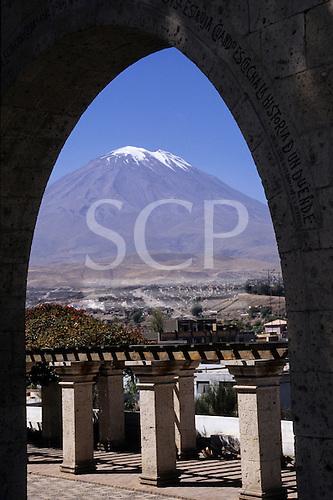Arequipa, Peru. El Misti volcano seen through a stone arch.