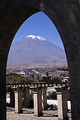 Arequipa, Peru. El Misti volcano seen through a stone arch.